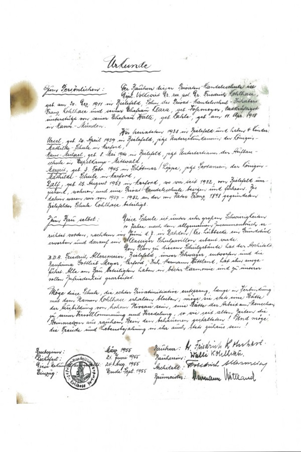 Abbildung der gefundenen Urkunde des Bauherren.