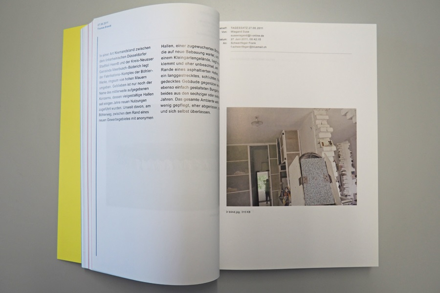 Buchseite in der Publikation von Suse Wiegand, die eine Aktualisierung durch einen befreundeten Künstler auf der linken Seite zeigt