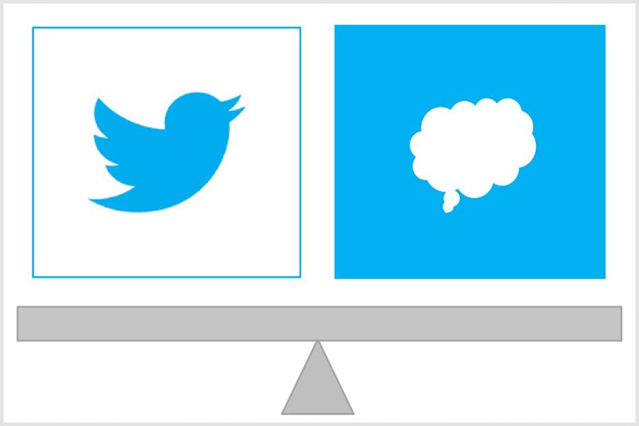 Illustration Waage denken oder twittern