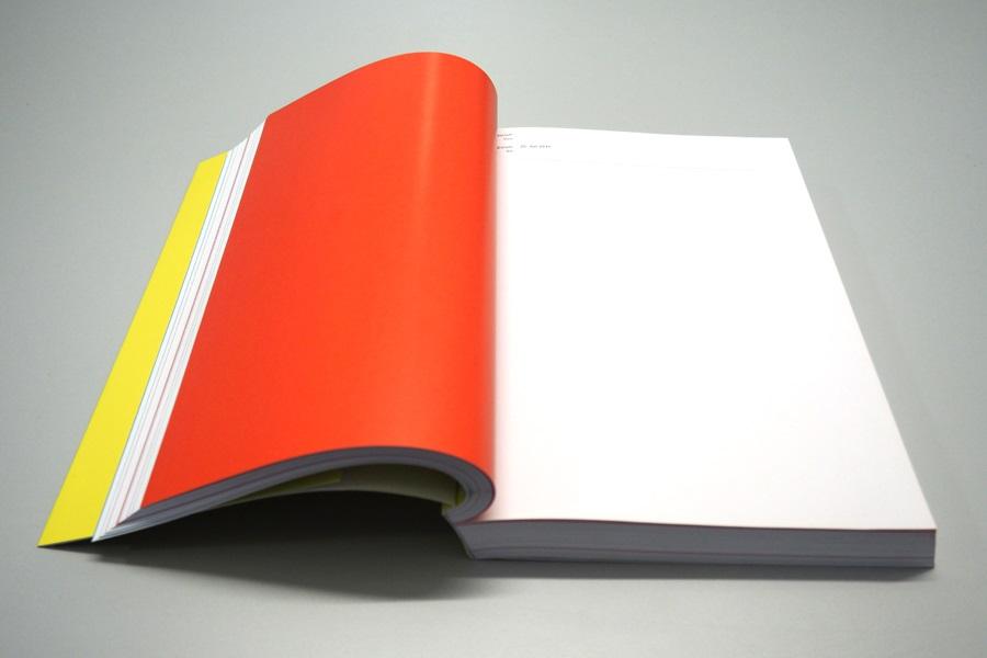 Buchseite in der Publikation von Suse Wiegand, die durch eine farbige Seite einen Tag markiert, an dem sie sich nicht mit einem Ding auseinander gesetzt hat