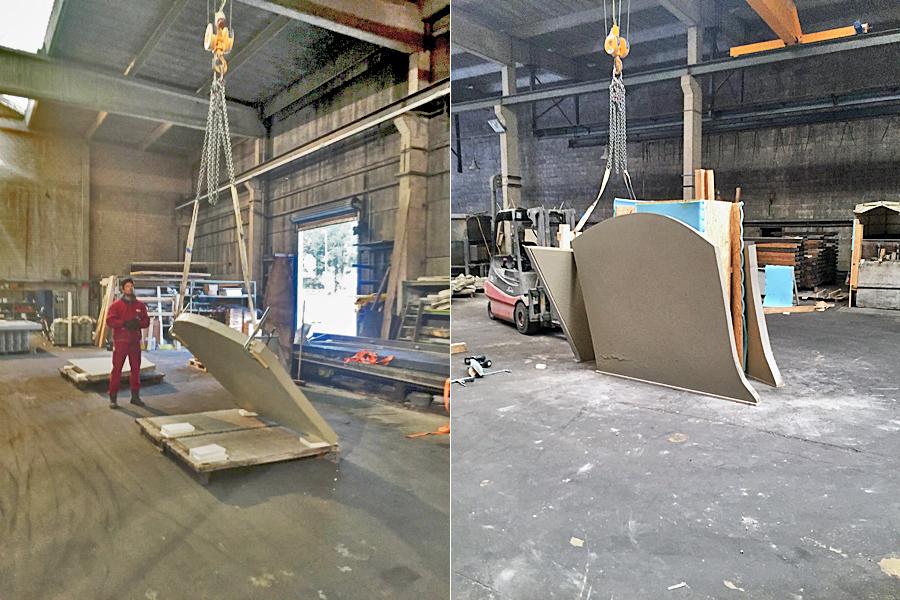 Vorbereitungen für die Arbeiten von Christoph Weber für die Marta-Ausstellung der fremde Raum im Betonwerk
