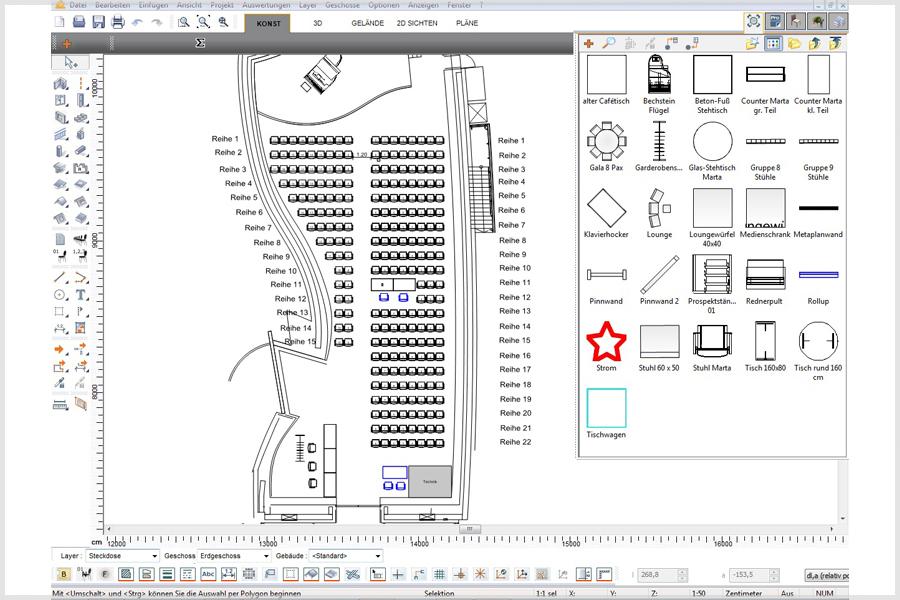 Screenshot des Programms, mit welchem die Bestuhlung geplant wird